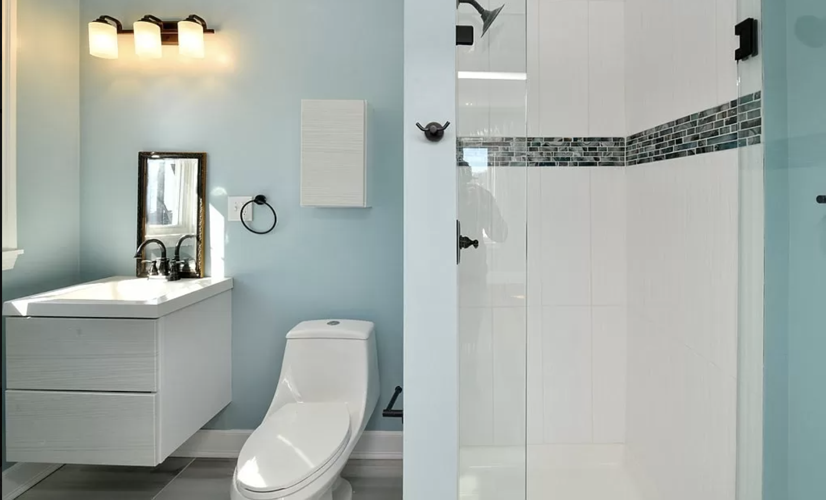 Another, more conventional bathroom in the Jamaica Plain home.