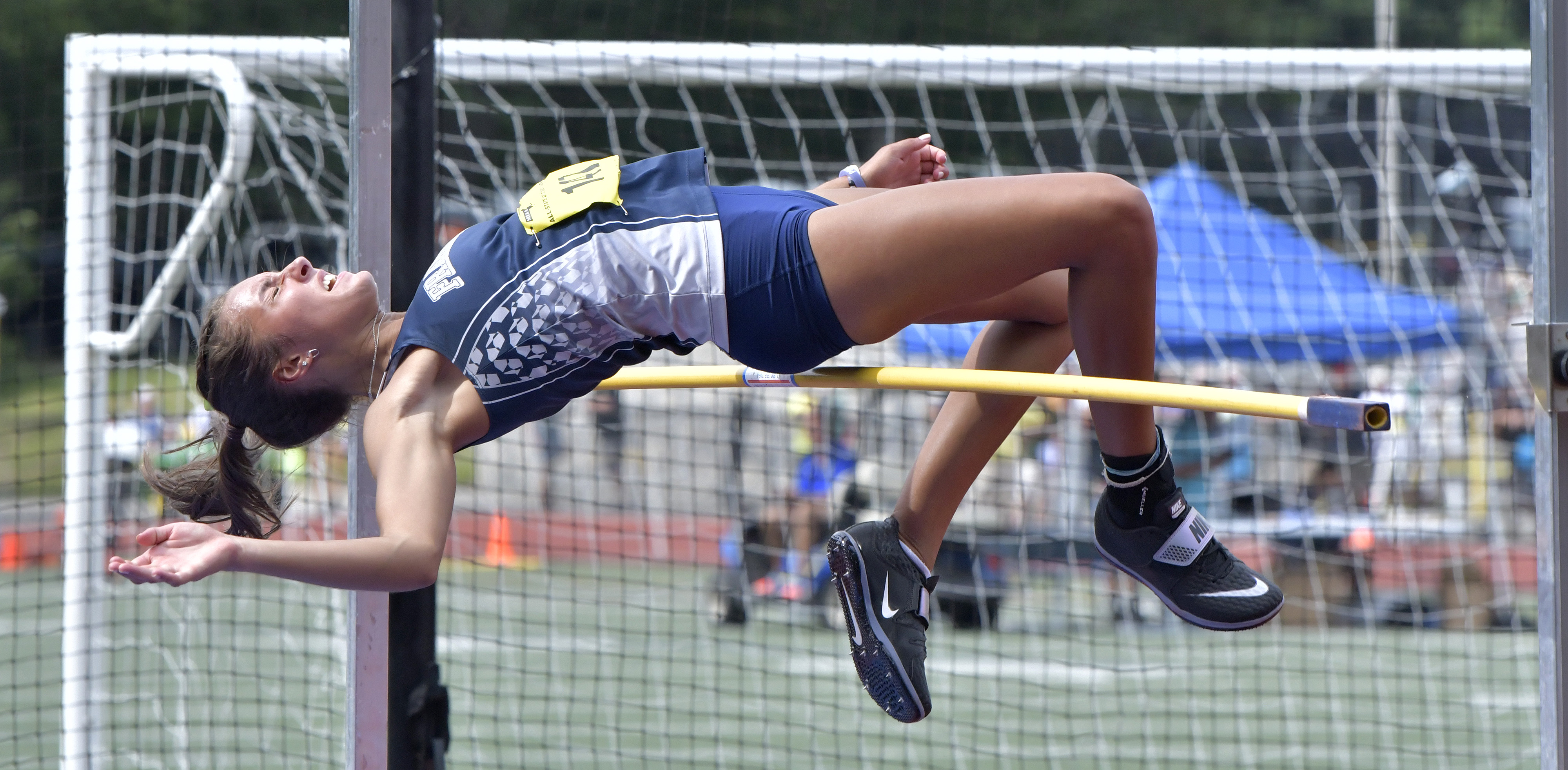 After winning the high jump at 5ft 6in, Sophie Albright of Framingham attempted to break the state competition record of 5-8.