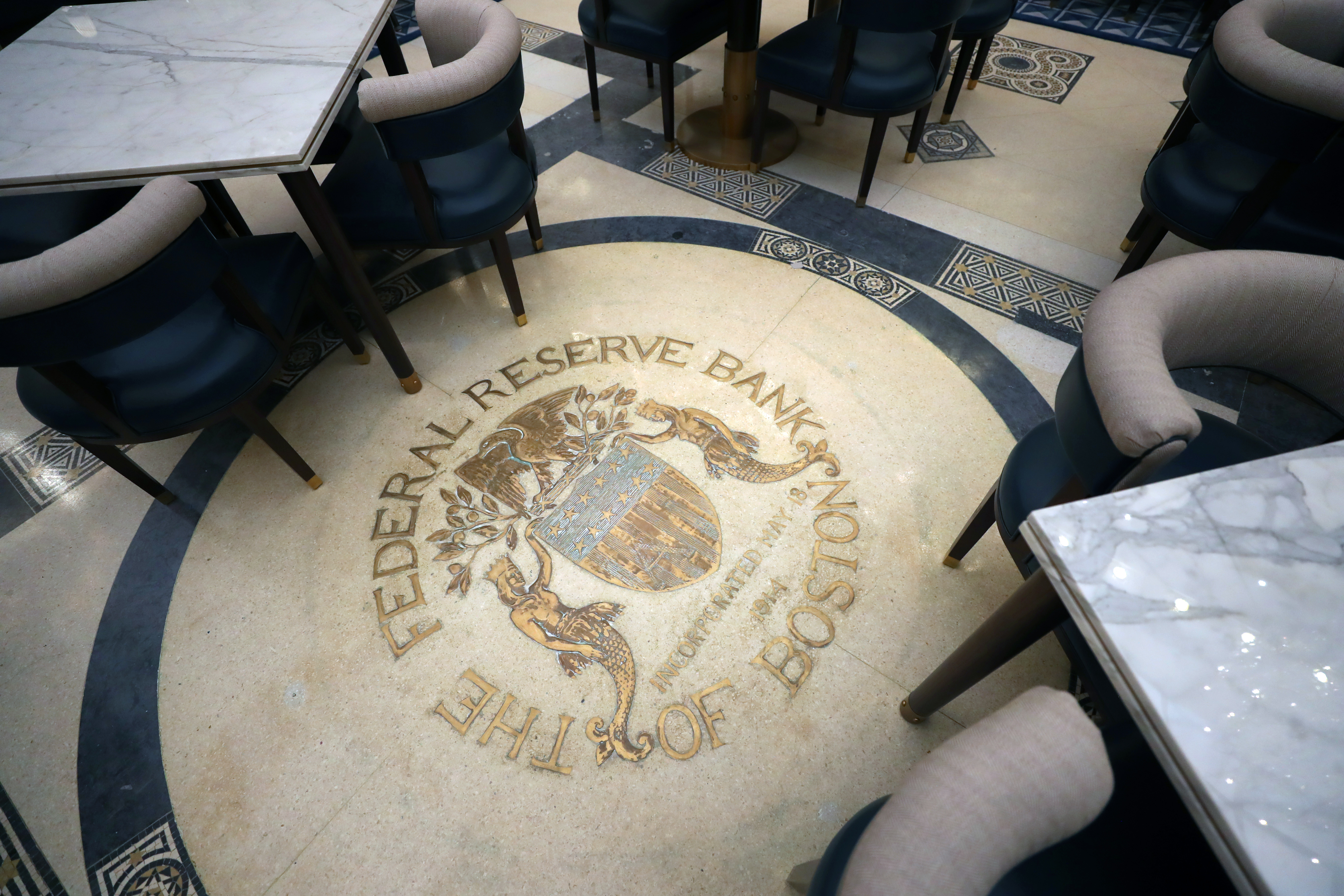 The emblem of the Federal Reserve Bank remains on the floor of the hotel's restaurant, Grana.