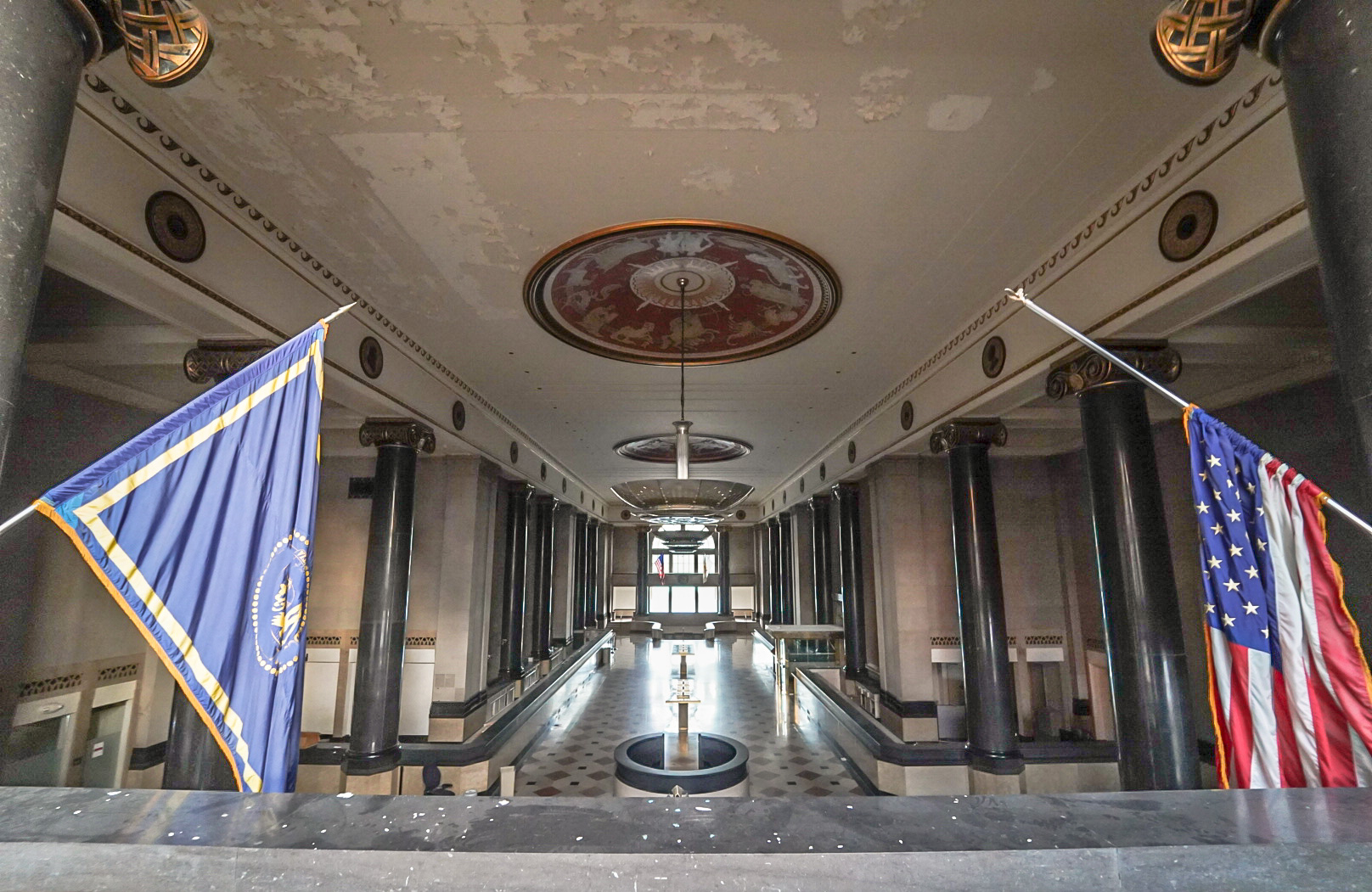"""The lobby of the Industrial Trust Building in Providence, also known as the """"Superman"""" building."""