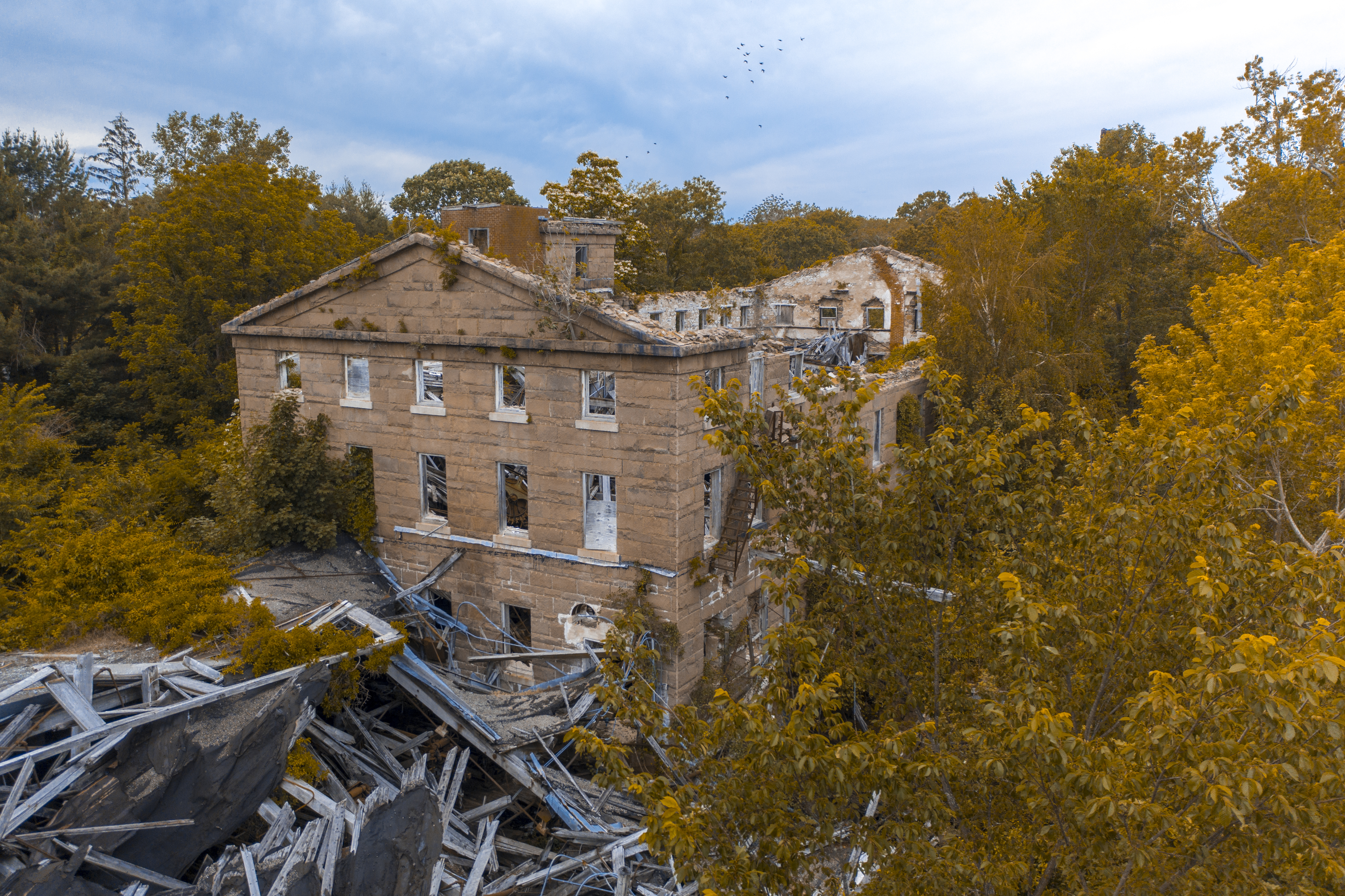 A lost and forgotten mill in southern Rhode Island, which was captured with a drone.