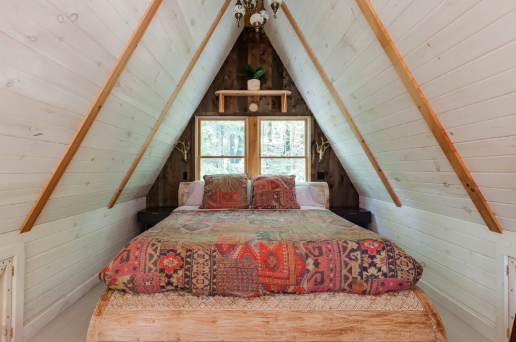 The 3-bedroom house is decorated in a bohemian style.
