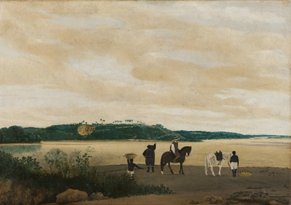 """""""View of Itamaracá Island in Brazil,"""" by Frans Post, 1637. The painting, which depicts two Portuguese men and two enslaved African men, will be discussed during the symposium's fourth day."""