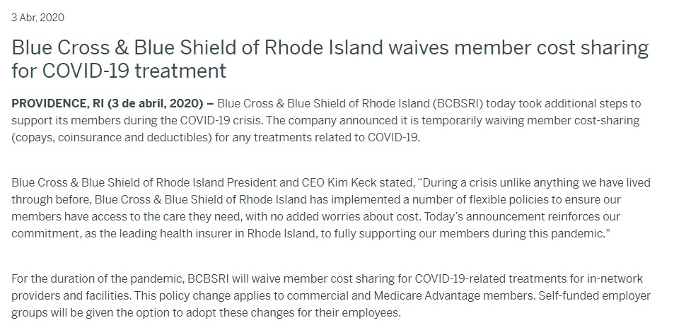"""An April 3, 2020 press release in which Blue Cross & Blue Shield of Rhode Island said the company would waive member cost-sharing for COVID-19 treatment """"For the duration of the pandemic."""""""