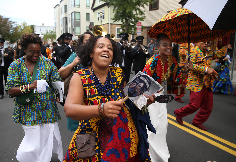 Daria Johnson marched in the procession to Starlight Square on Saturday.