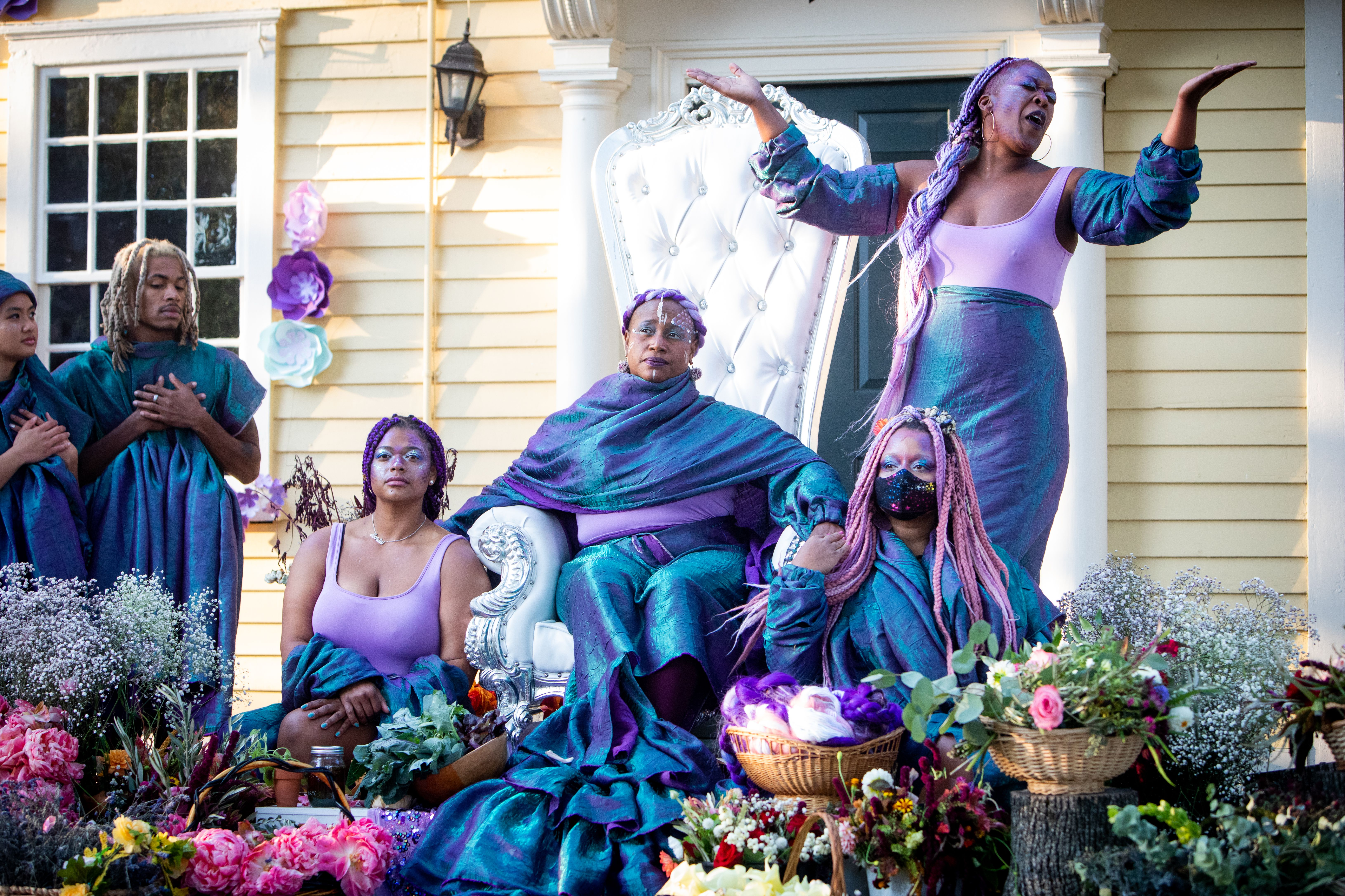 """From left to right: Alexx Temena, Trent Lee, Assitan Coulibaly, April Brown, Jess Brown (standing) and Simony Rendesde in Haus of Glitter Dance Company's """"The historical fantasy of Esek Hopkins."""""""