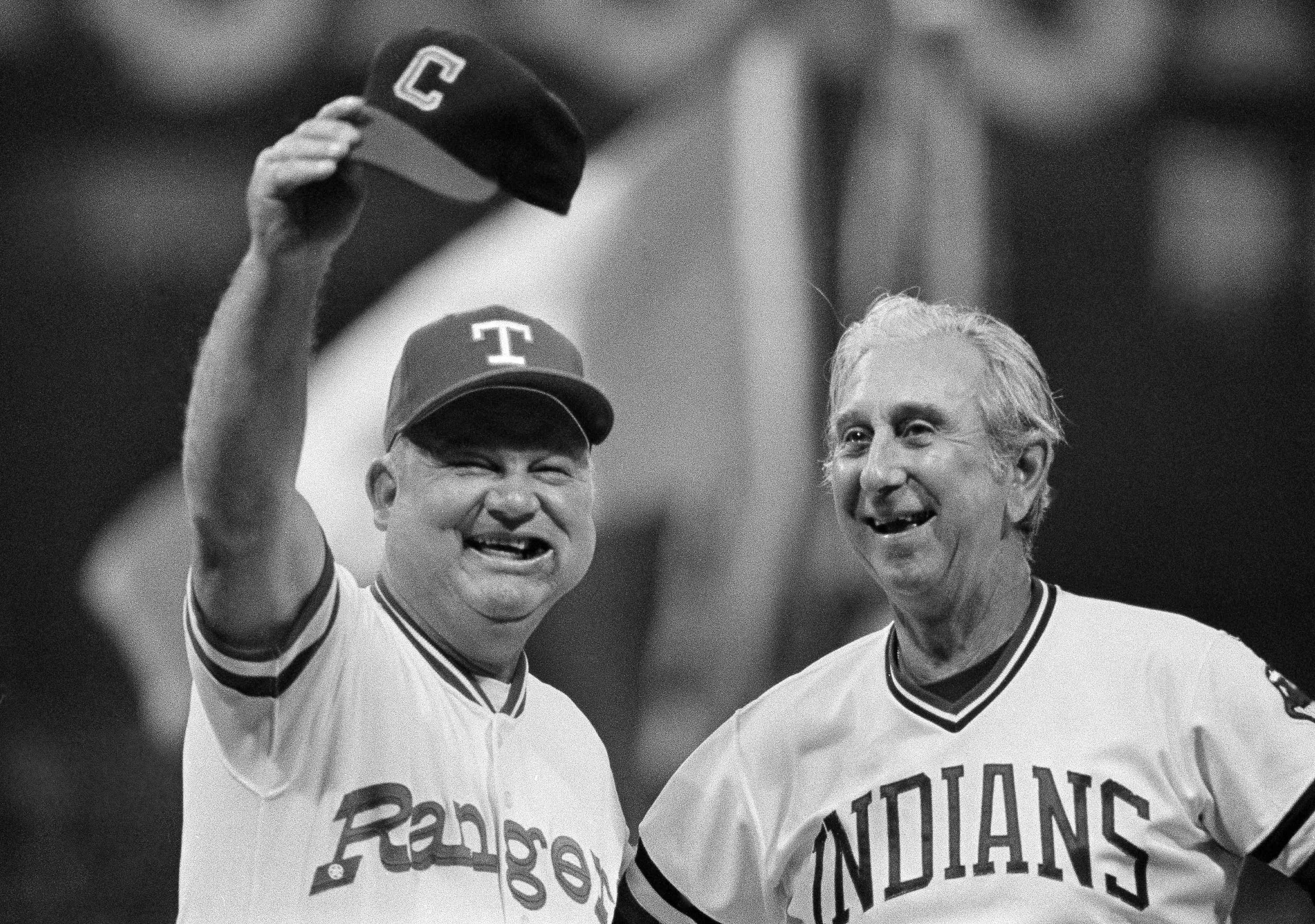 Managers Don Zimmer and Dave Garcia donned the traditional All-Star gear at the 1981 game in Cleveland.