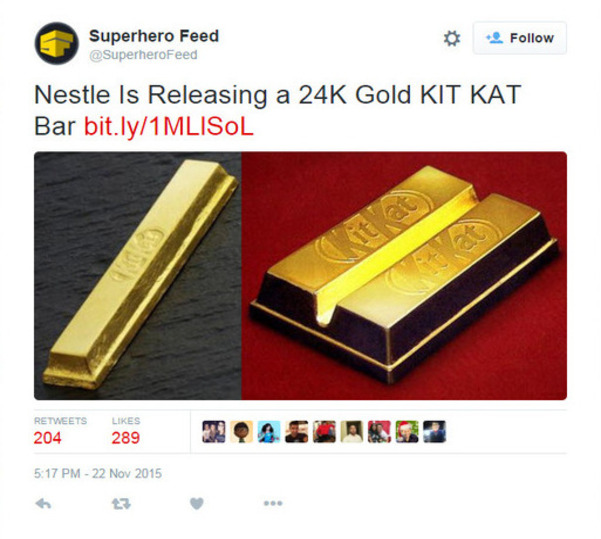 Kit Kat covered in edible 24-karat gold to be released – WDBO