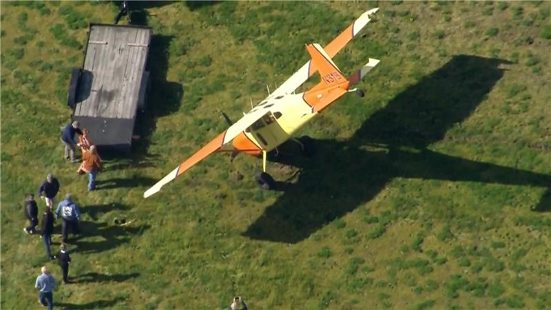 Small plane tips onto nose during landing at Arlington Municipal Airport