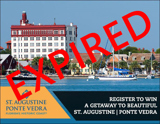 Expired Contest: Register for your chance to win a getaway to beautiful St. Augusting and Ponte Vedra