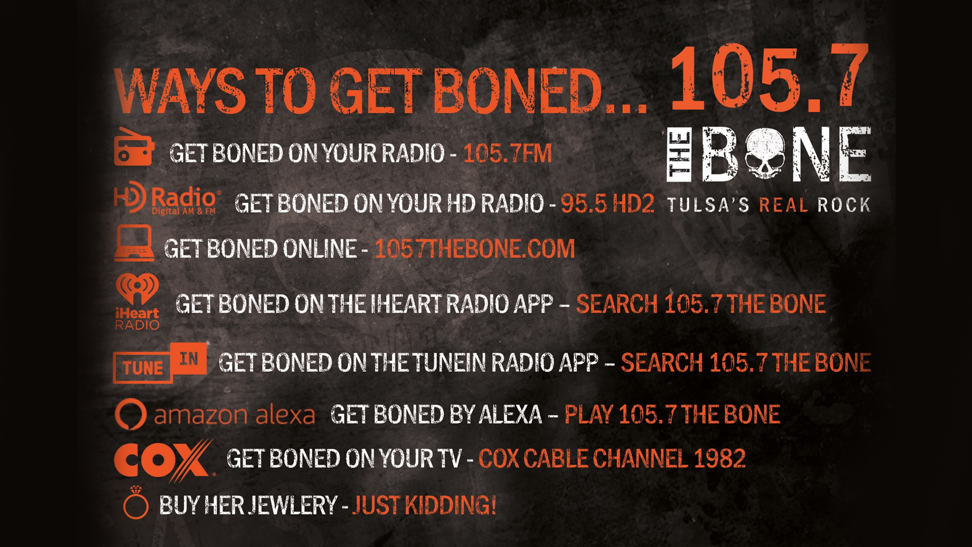 Get Boned with 105.7 The Bone