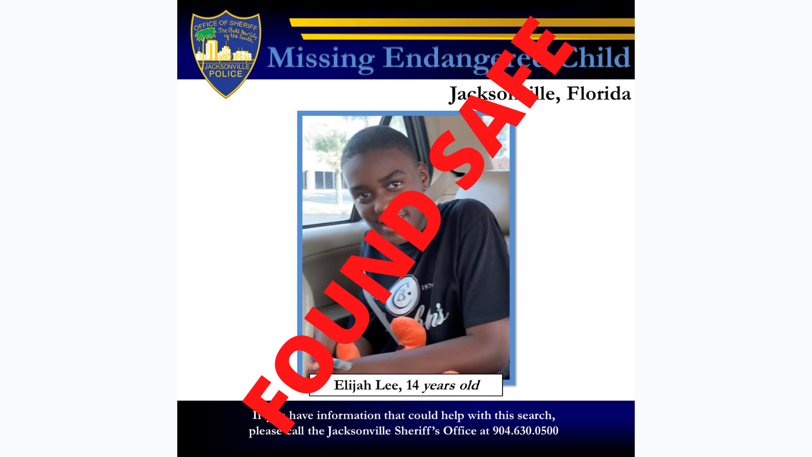 Found Safe Missing Child Found Safe After Fdle Issues Alert Action News Jax