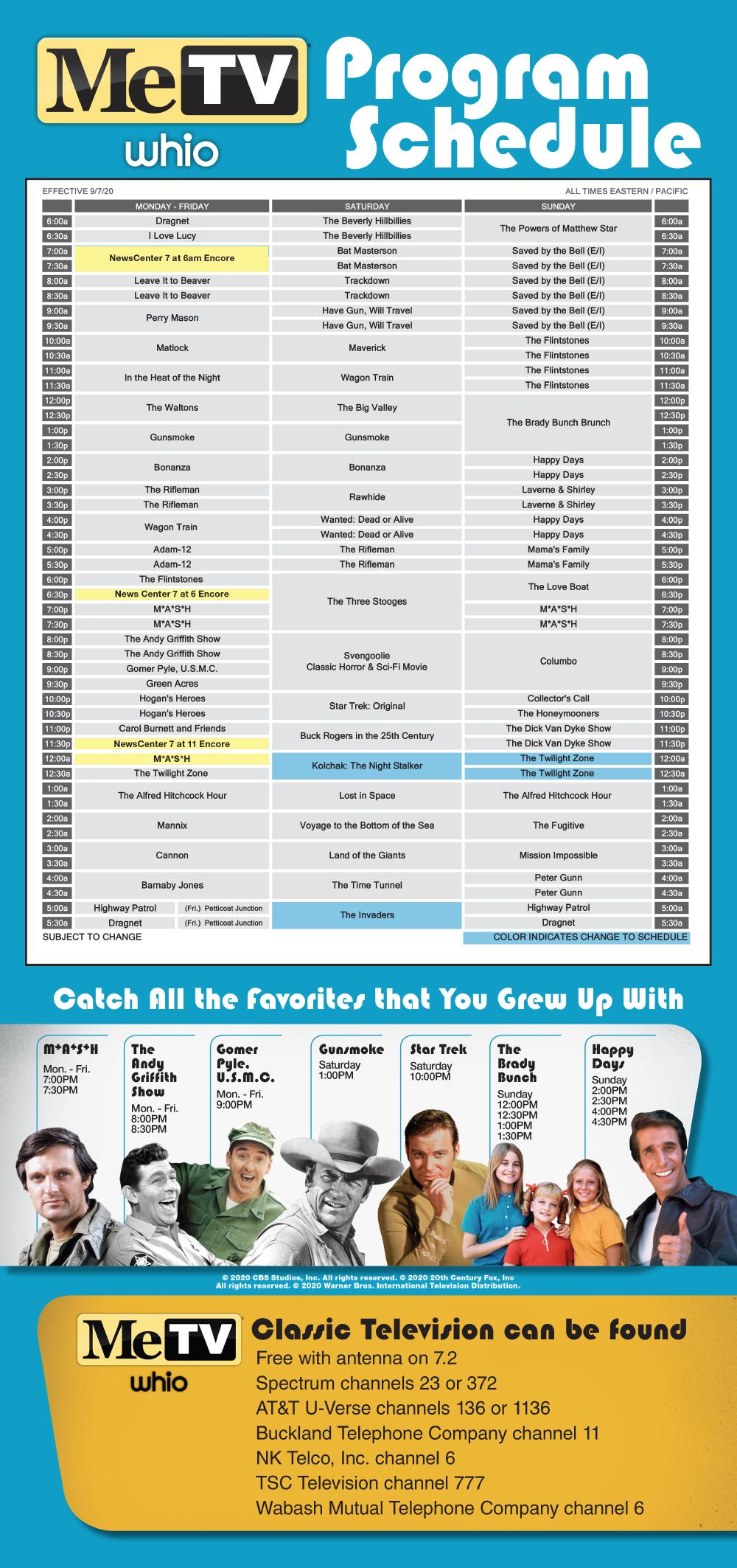 MeTV Schedule