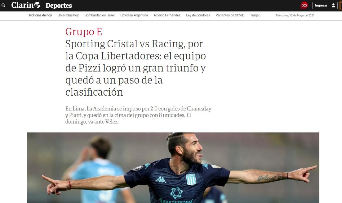 Reacciones de la prensa argentina tras el triunfo de Racing Club ante Sporting Cristal