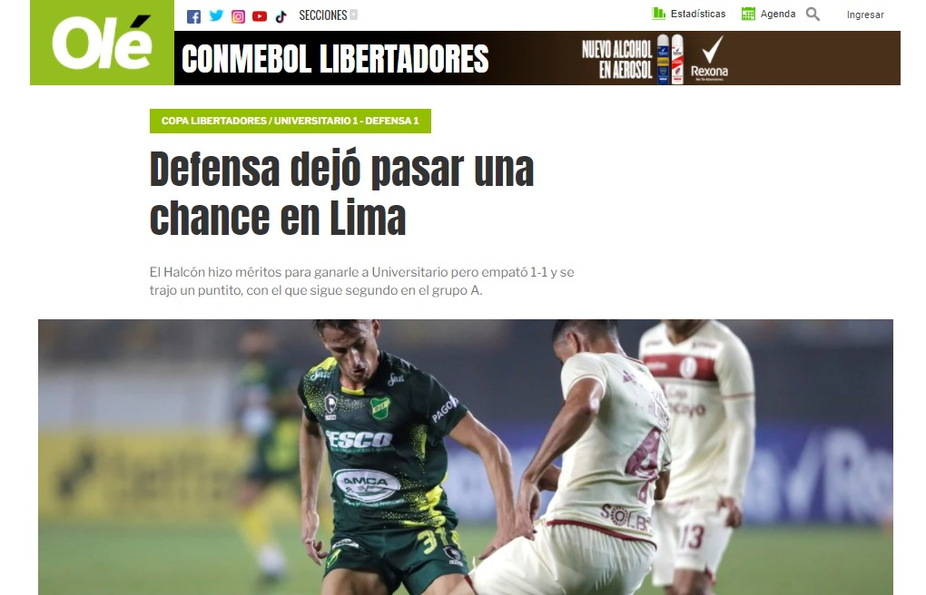 La reacción de la prensa argentina tras el empate de Universitario vs. Defensa y Justicia
