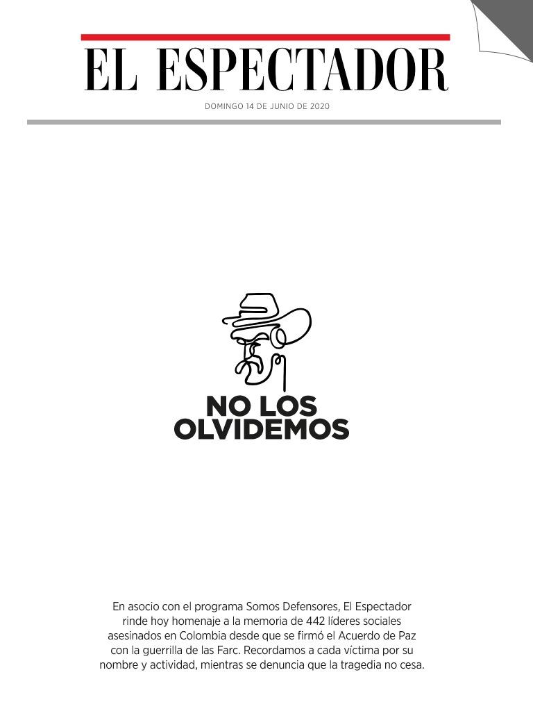 La portada de este 14 de junio de la versión impresa de El Espectador recogió los nombres de los líderes asesinados hasta marzo de 2020.
