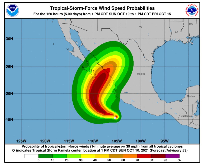 Pamela, la tormenta tropical que se formó cerca de México