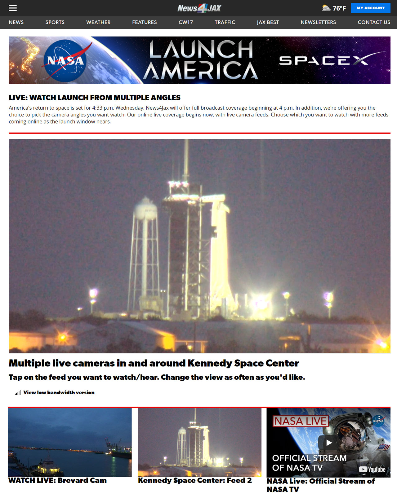 Launch America Live page
