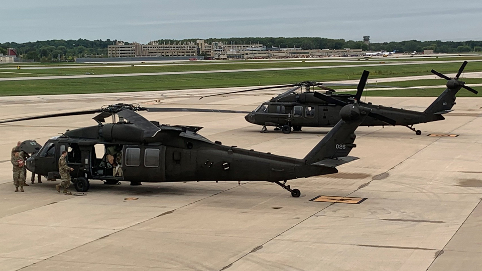 UH-60 Black Hawk's • 147th Aviation • Depart to Assist with California Wildfires • Sept 11 2002