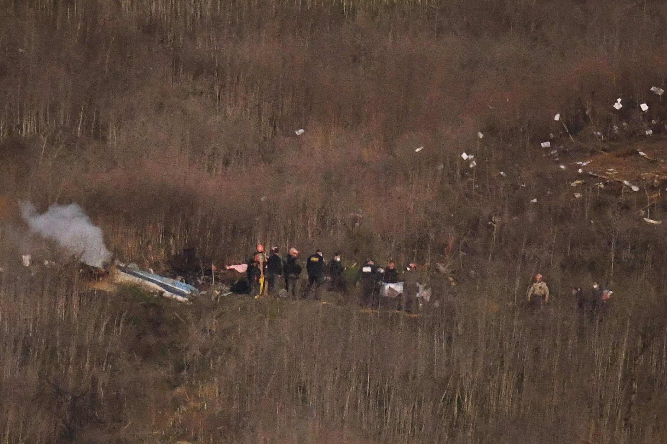 Investigators Work Scene Of Kobe Bryant S Chopper Crash