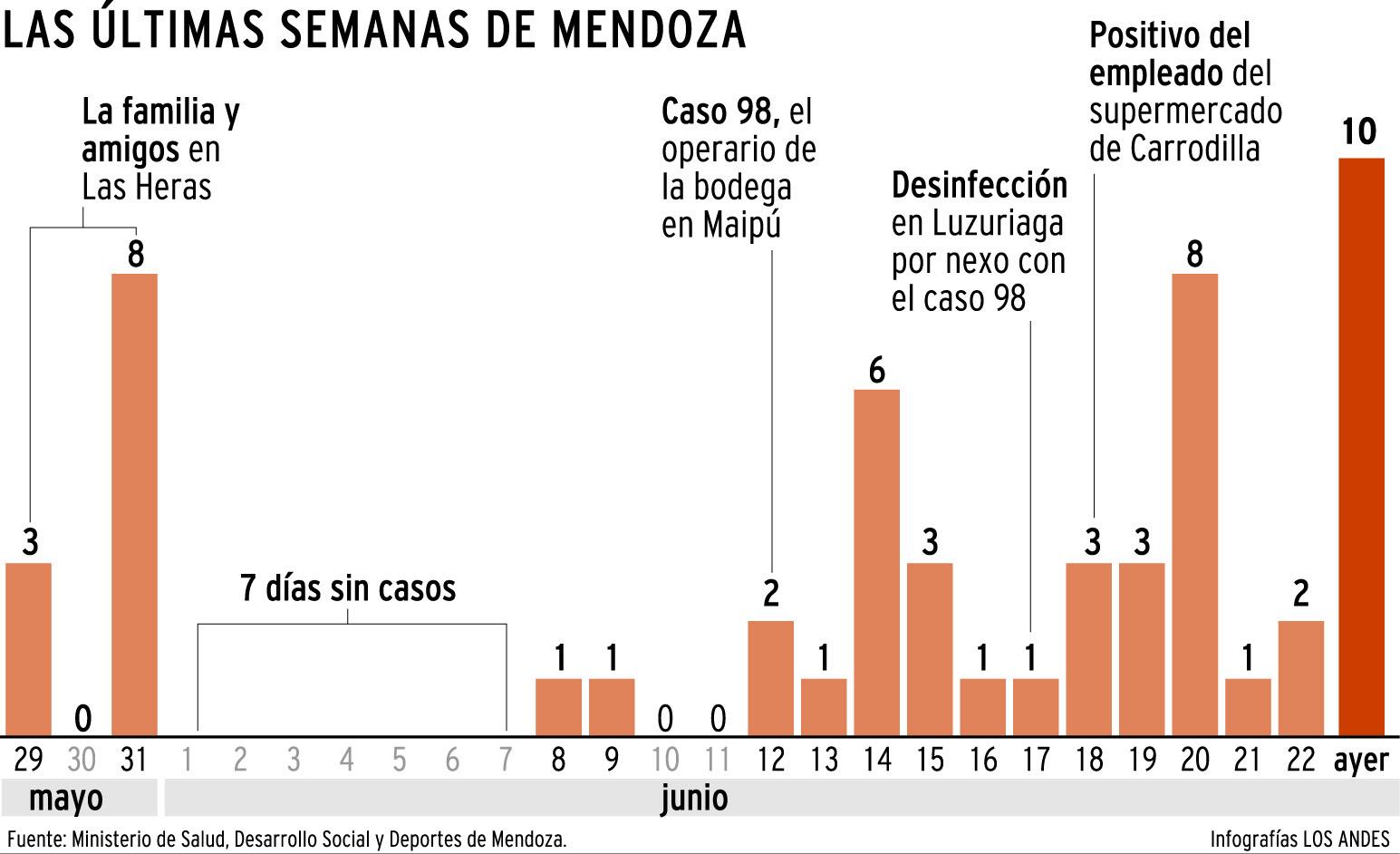 Cantidad de casos positivos en las últimas semanas en Mendoza - Gustavo Guevara