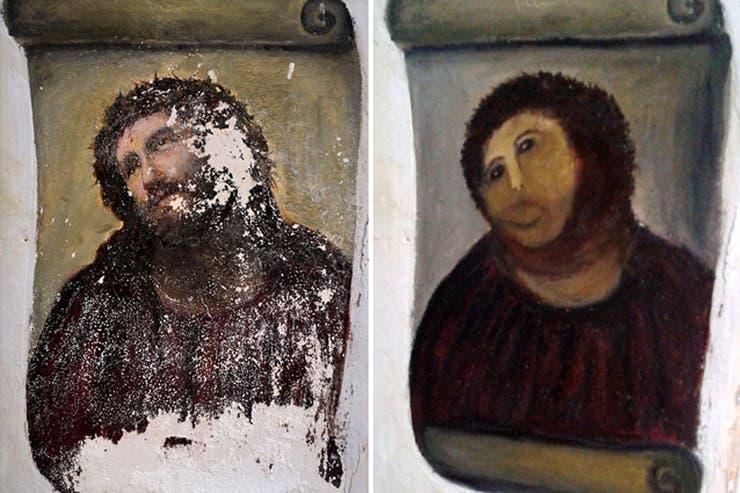 """El mismo error de restauración sucedió con la famosa obra """"Ecce Homo"""", ocho años atrás."""