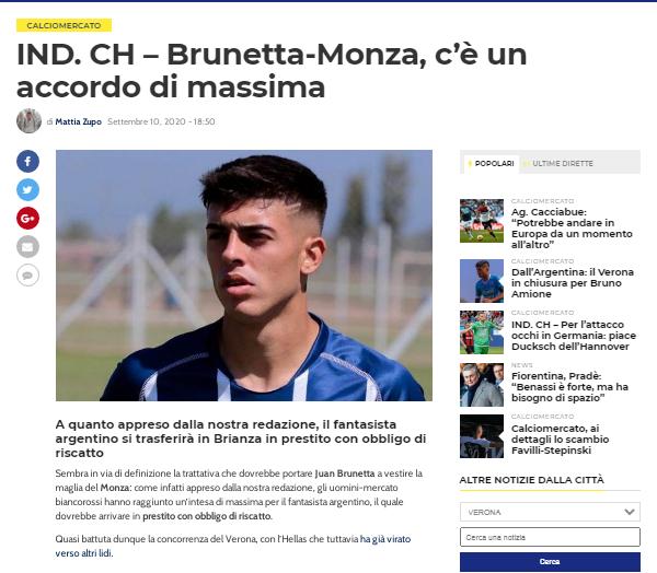 El sitio Calcio Hellas informa que hay acuerdo entre Brunetta y el Monza FC.