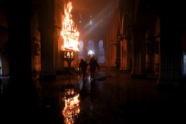 Incendio en la iglesia de Carabineros -