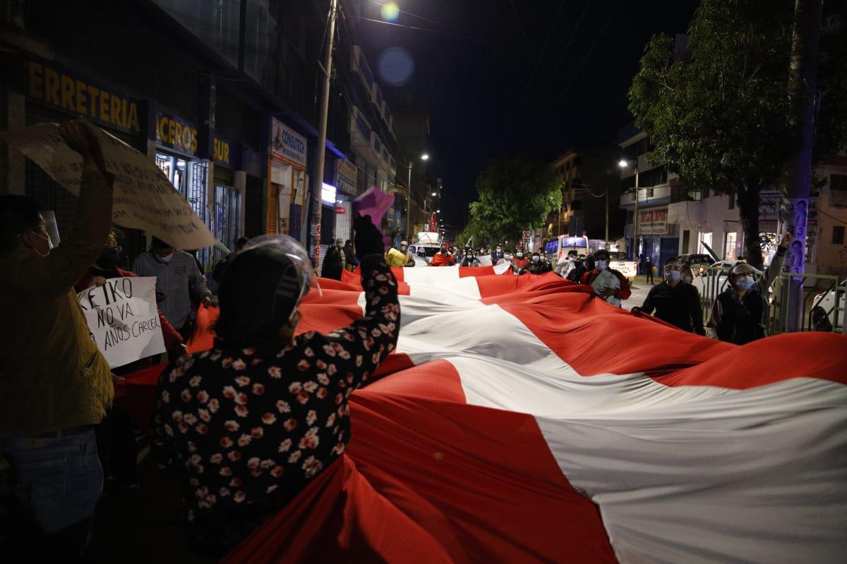 Cusqueños salieron a las calles a manifestarse. Foto: Miguel Gutiérrez