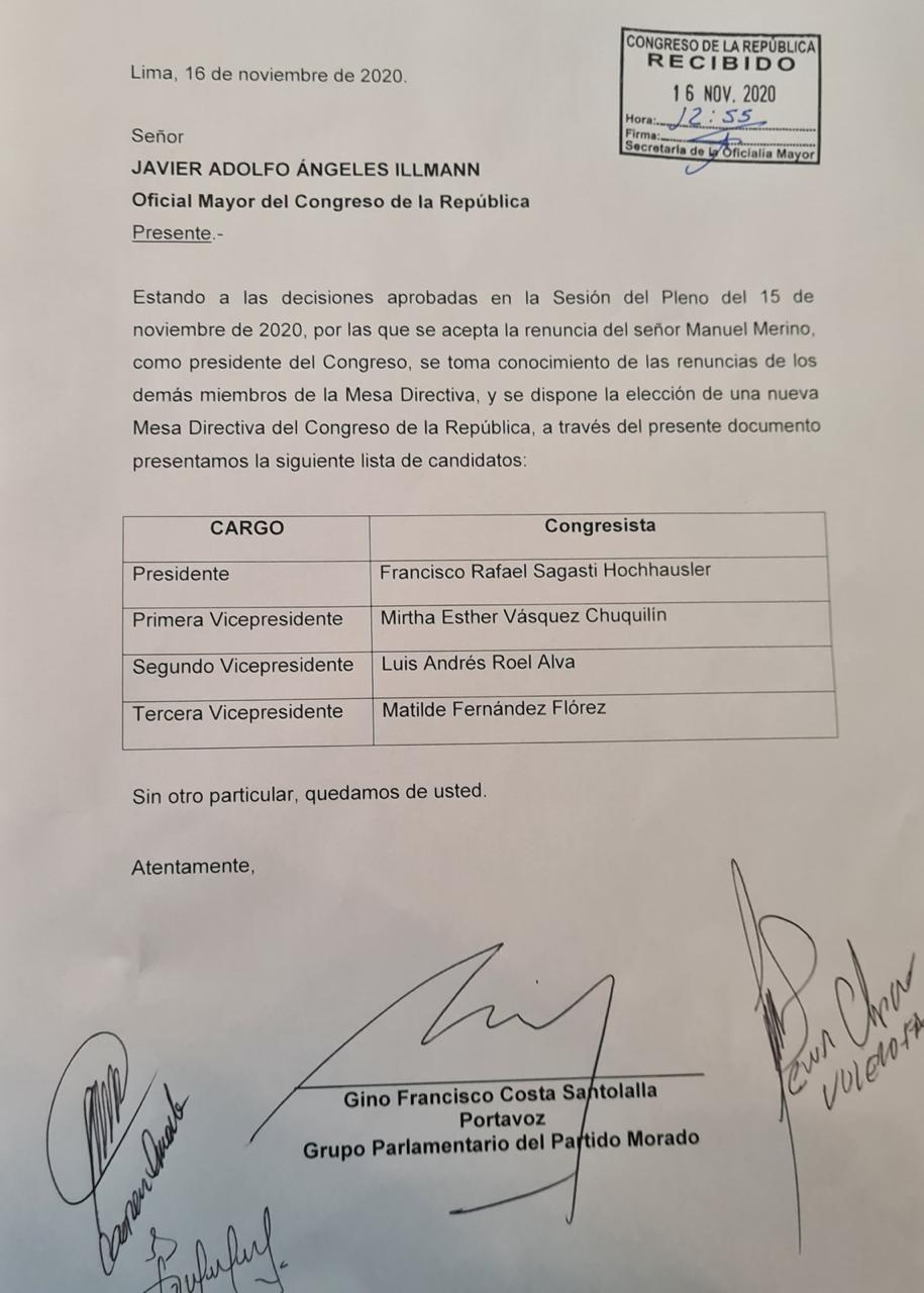 Partido Morado lidera nueva lista a la Mesa Directiva