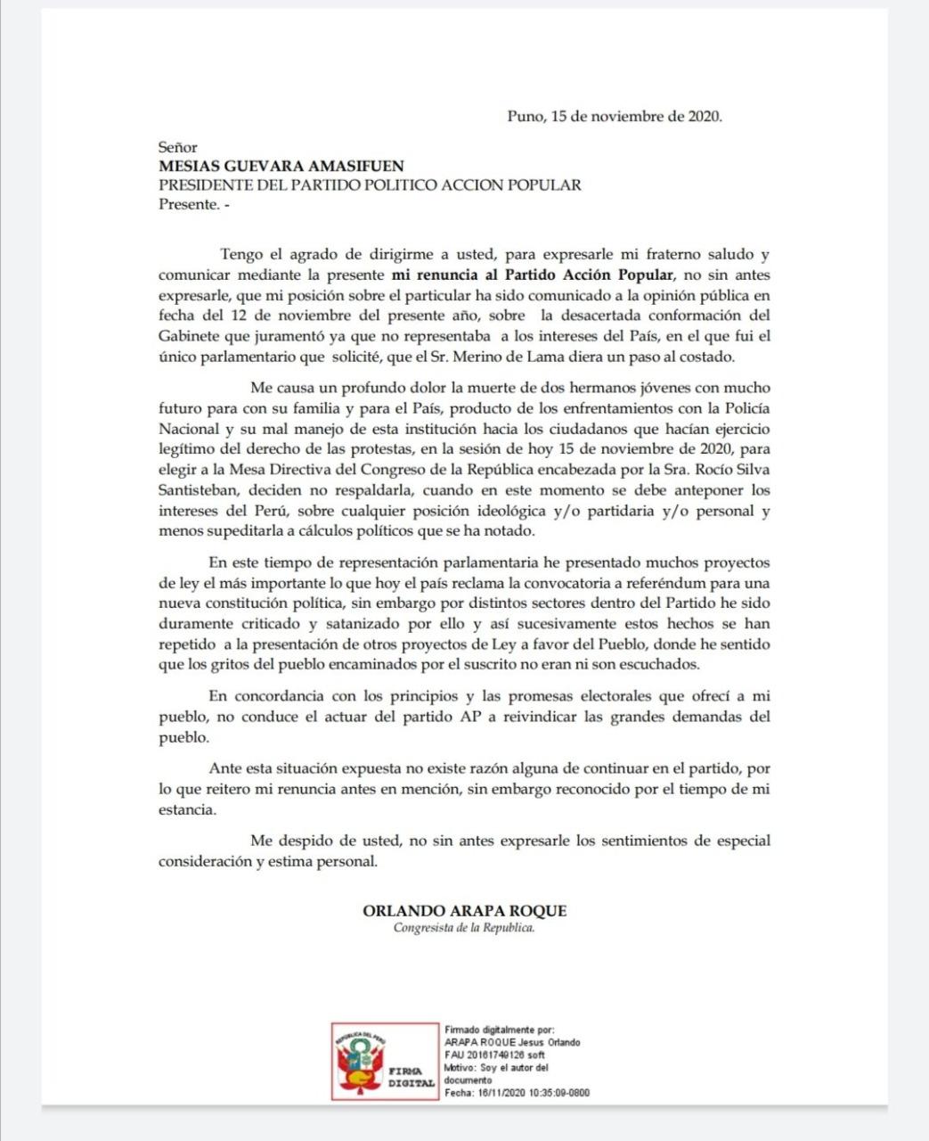 Orlando Arapa renuncia a AP