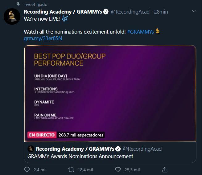 BTS nominado a los GRAMMY 2021
