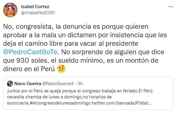 Isabel Cortez a Nano Guerra: Quieren dejar el camino libre para vacar al presidente
