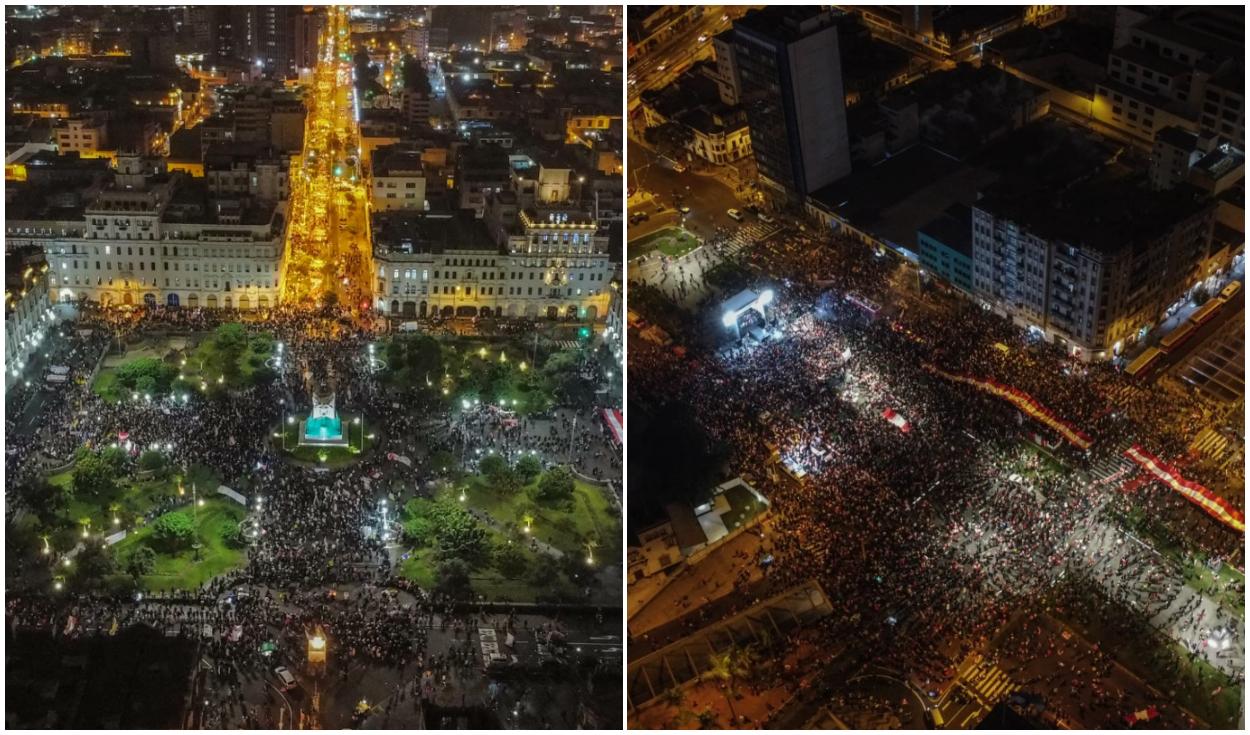 Vista área de la Plaza San Martín, donde la gente se está congregando para la marcha a favor de Pedro Castillo, y del mitin del Keiko Fujimori.Foto: Aldair Mejía/La República