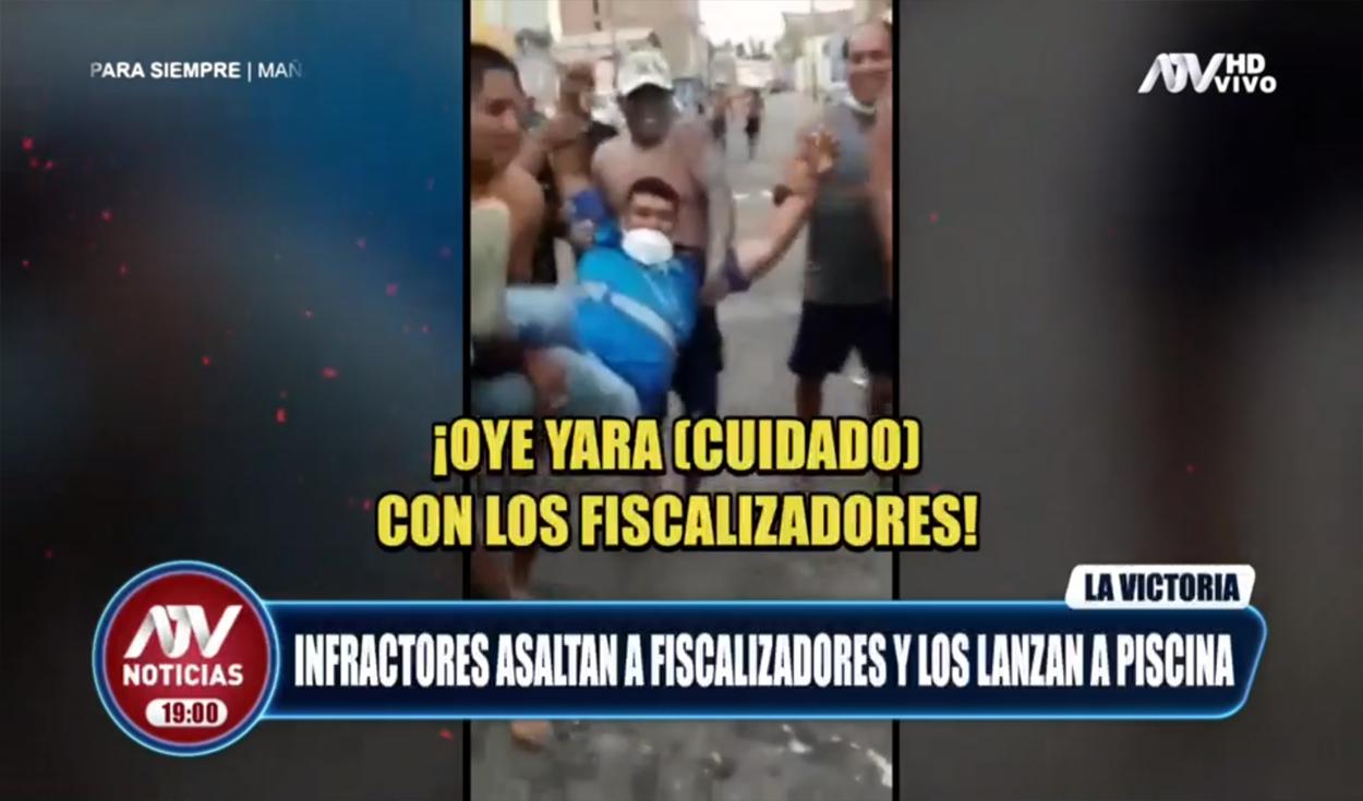 Cercado de Lima: vecinos asaltan y lanzan a piscina a fiscalizadores