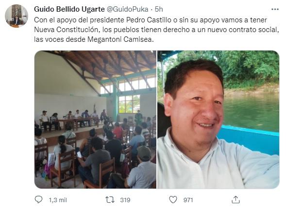 Guido Bellido apunta al cambio de Constitución con o sin apoyo de Pedro Castillo