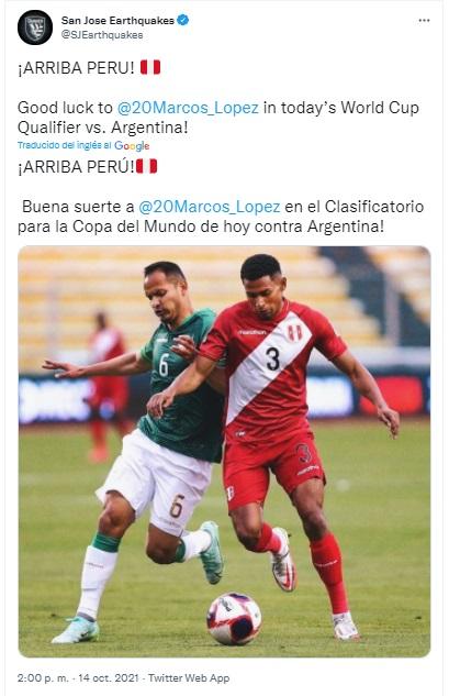 Marcos López recibió el apoyo de su club de la MLS.