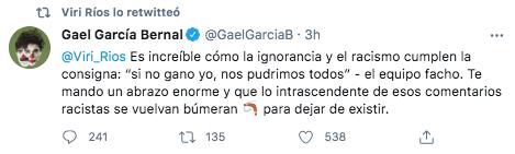 El actor Gael García se solidarizó con Ríos (Foto: captura de pantalla / Twitter@GaelGarciaB)