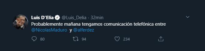 El tuit del dirigente piquetero revelando la llamada teléfoníca entre Alberto Fernández y Nicolás Maduro. (Twitter: @Luis_Delia)