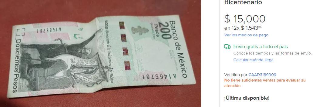 El billete se vende hasta en 15,000 pesos. (Foto: Mercado Libre)