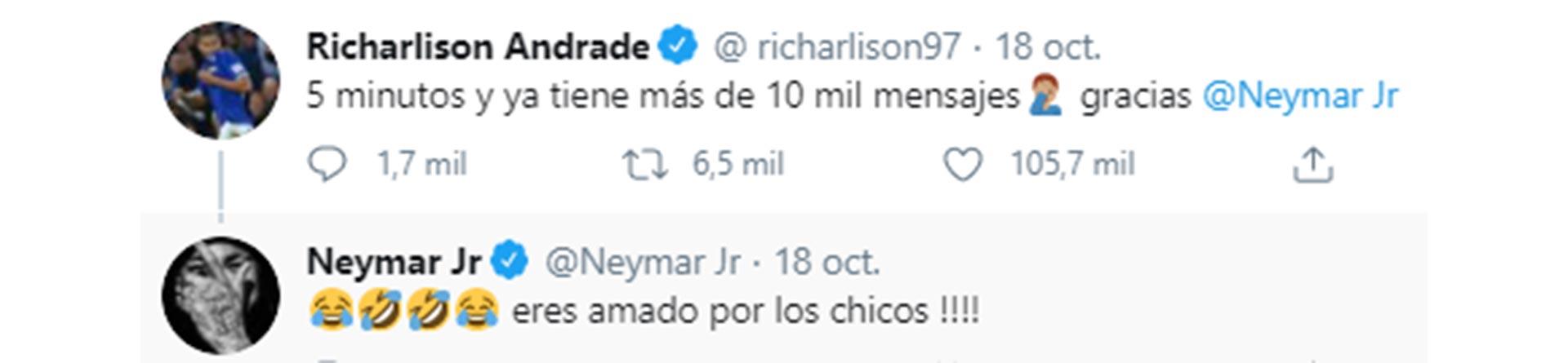 Richarlison y Neymar la siguieron en las redes sociales (Twitter)
