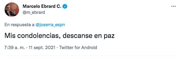 El canciller de México muestra sus condolencias a José Ramón Fernández. Foto: Twitter @m_ebrard