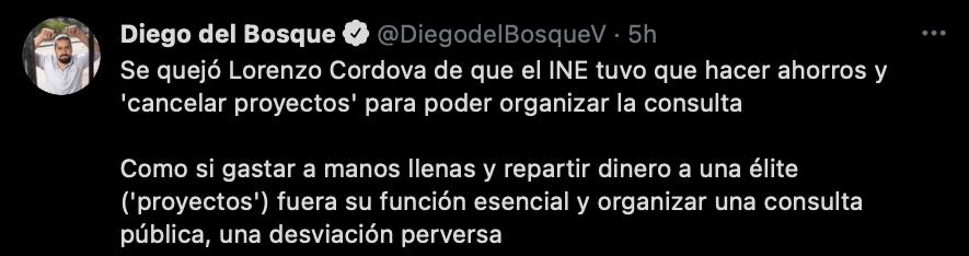"""""""Repartir dinero a una élite"""", son los proyectos que el INE canceló según el diputado del Bosque (Foto: captura de pantalla de Twitter @DiegodelBosqueV)"""