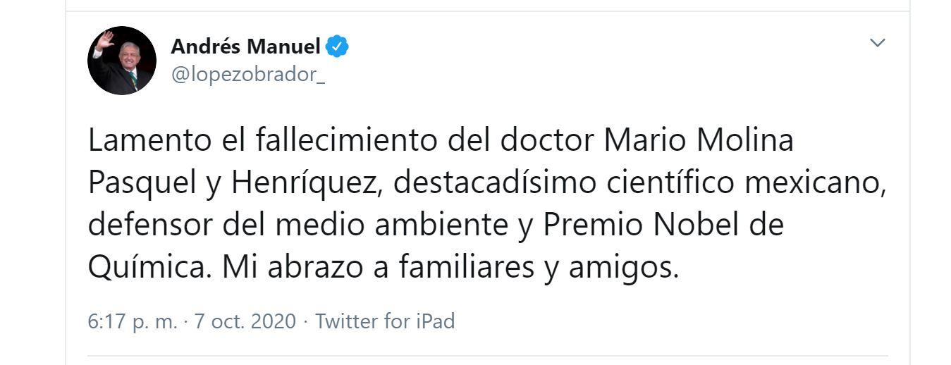 El presidente lamentó la muerte de Mario Molina (Foto: Twitter / @lopezobrador_)