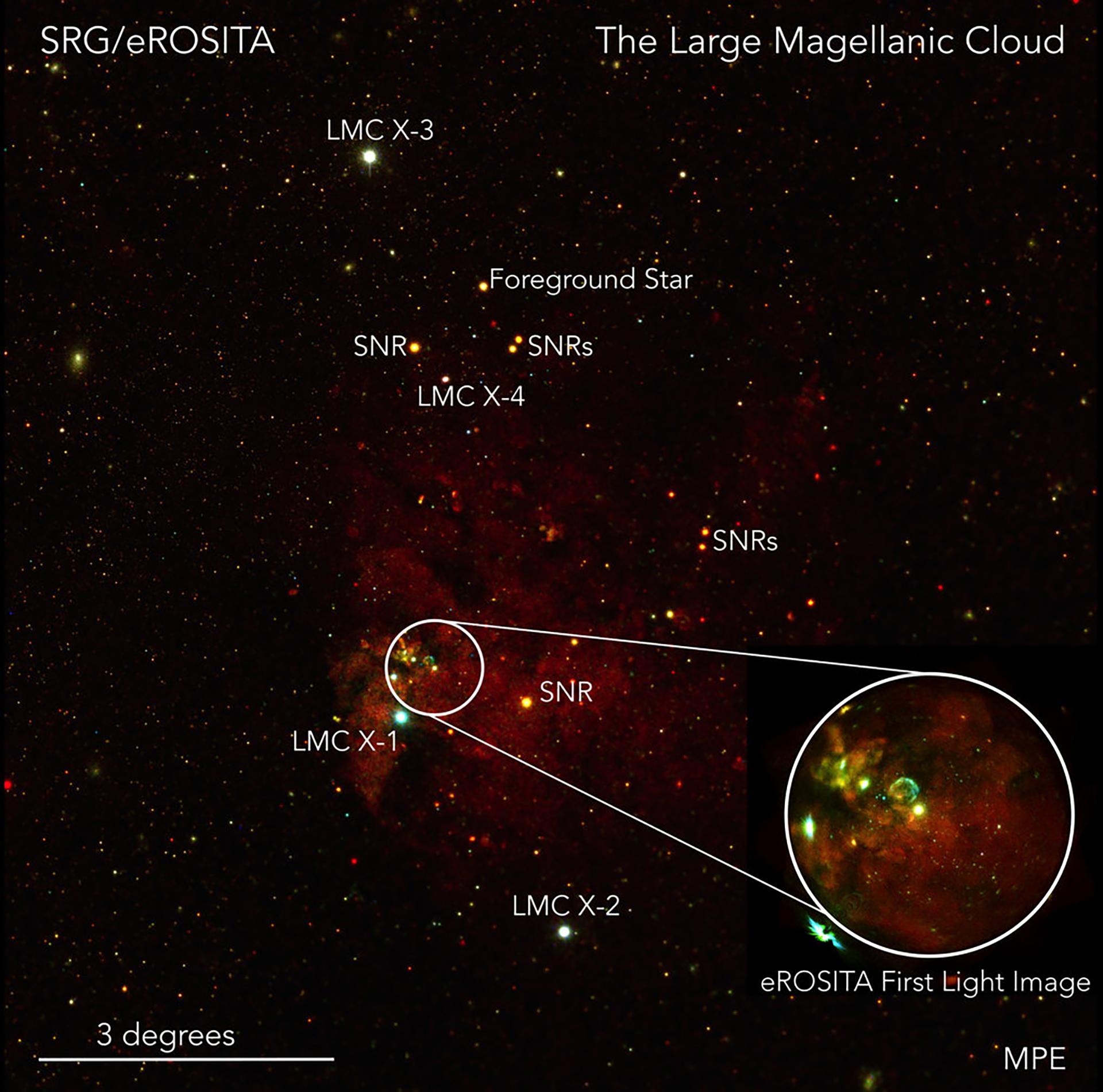 Las cuatro fuentes de rayos X más brillantes de la región de la Gran Nube de Magallanes están marcadas (LMC X-1 a 4). También son visibles numerosos restos de supernovas (SNR) y muchas estrellas en primer plano (imagen: Frank Haberl, Chandreyee Maitra/MPE)