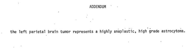 """El apéndice al informe de patología quirúrgica de Jeff Henigson que muestra el tercer y último diagnóstico de """"astrocitoma de grado alto y anaplásico"""", es decir, tumor cerebral agresivo. (Cortesía de Jeff Henigson)"""