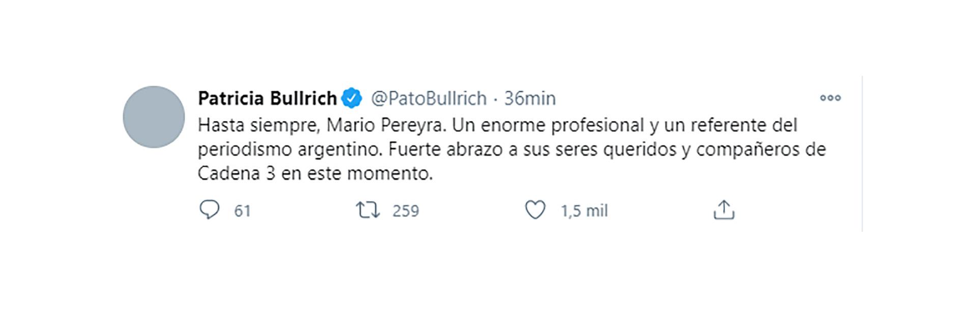 El mensaje de condolencias de Patricia Bullrich
