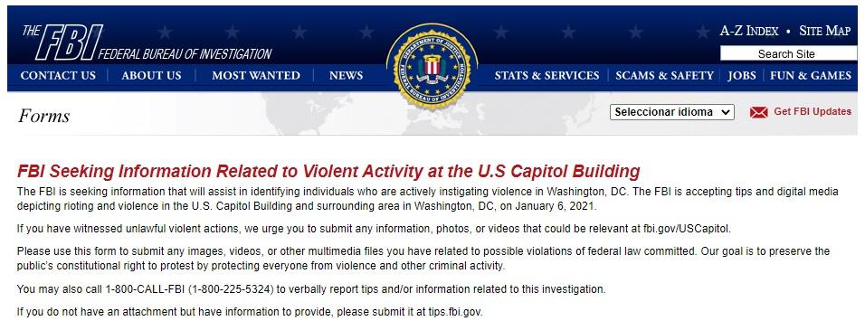 La convocatoria del FBI para recibir imágenes del miércoles