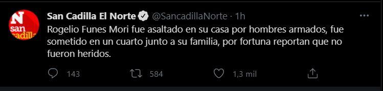(Foto: Twitter/ Captura de Pantalla @SancadillaNorte)