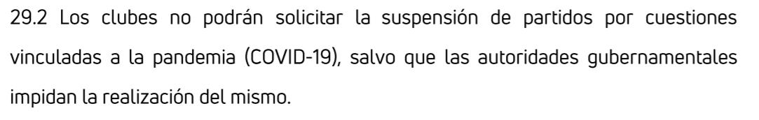 El punto 29.2 que impide suspender los partidos por alguna cuestión relacionada a la pandemia
